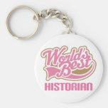 Cute Pink Worlds Best Historian Keychain