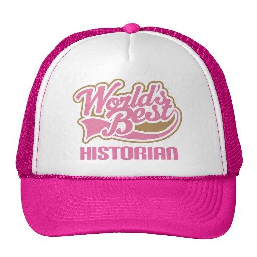 Cute Pink Worlds Best Historian Mesh Hat