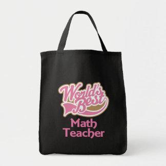 Cute Pink Worlds Best Math Teacher Tote Bags