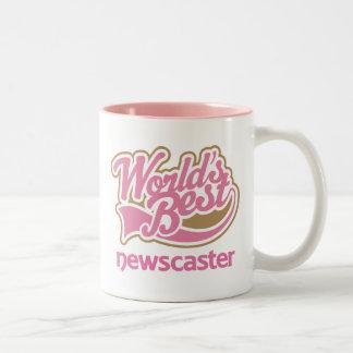 Cute Pink Worlds Best Newscaster Two-Tone Coffee Mug