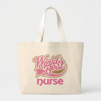Cute Pink Worlds Best Nurse Large Tote Bag