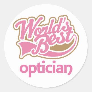 Cute Pink Worlds Best Optician Classic Round Sticker