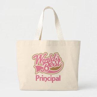 Cute Pink Worlds Best Principal Large Tote Bag