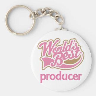 Cute Pink Worlds Best Producer Basic Round Button Keychain
