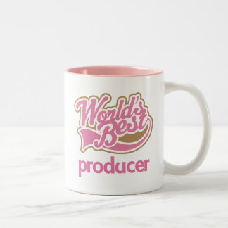 Cute Pink Worlds Best Producer Two-Tone Coffee Mug
