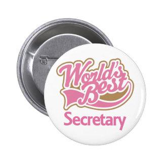 Cute Pink Worlds Best Secretary Pin
