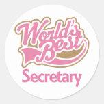 Cute Pink Worlds Best Secretary Round Stickers