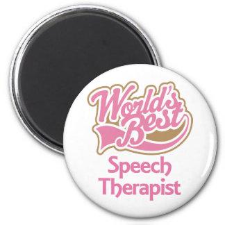 Cute Pink Worlds Best Speech Therapist 2 Inch Round Magnet