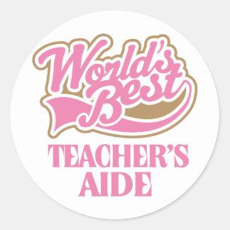 Cute Pink Worlds Best Teachers Aide Classic Round Sticker