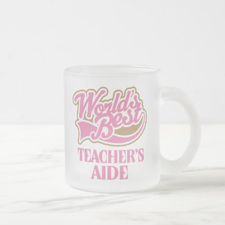Cute Pink Worlds Best Teachers Aide Frosted Glass Coffee Mug