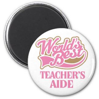 Cute Pink Worlds Best Teachers Aide Magnet