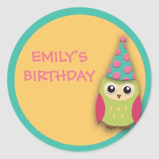 Cute Pink Yellow Teal Green Owl Birthday Sticker