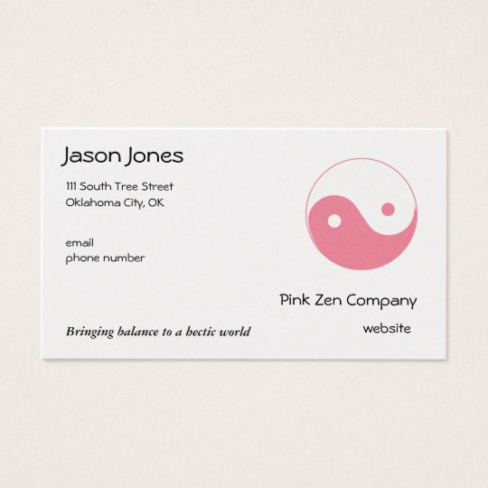 Cute Pink Yin Yang Business Card