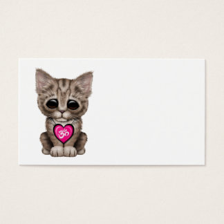 Cute Pink Yoga Love Om Kitten Business Card