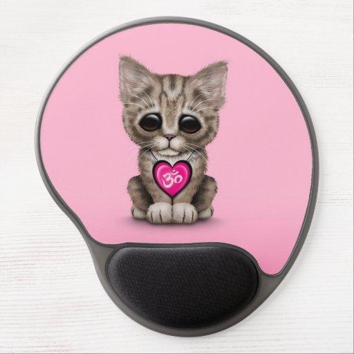 Cute Pink Yoga Love Om Kitten Gel Mouse Mats