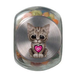 Cute Pink Yoga Love Om Kitten Glass Candy Jars