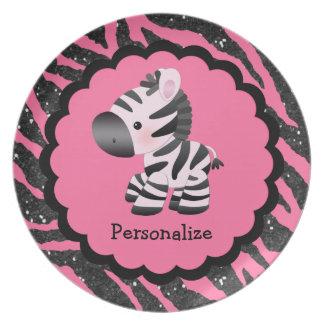 Cute Pink Zebra and Glitter Animal Print Plate