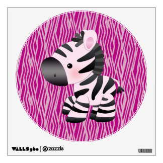 Cute Pink Zebra & Animal Print Wall Decal