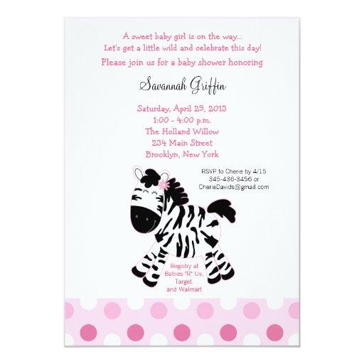 Cute Pink Zebra Baby Shower 5x7 Invitation
