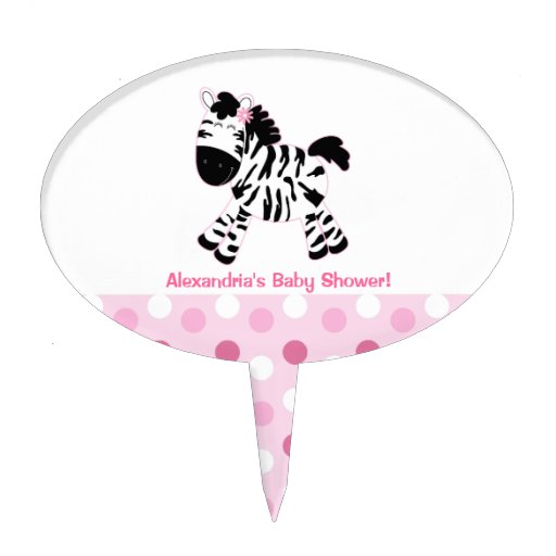 Cute Pink Zebra Baby Shower Cake Topper Pick
