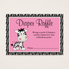 Cute Pink Zebra Baby Shower Diaper Raffle Business Card at Zazzle
