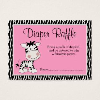 Cute Pink Zebra Baby Shower Diaper Raffle Business Card