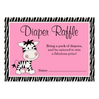 Cute Pink Zebra Baby Shower Diaper Raffle Large Business Card