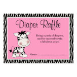 Cute Pink Zebra Baby Shower Diaper Raffle Large Business Cards (Pack Of 100)