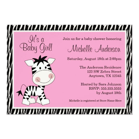 Cute pink zebra baby shower invitations zazzle cute pink zebra baby shower invitations filmwisefo