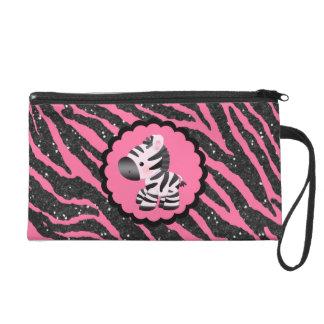 Cute Pink Zebra & Black Glitter Animal Print Wristlet Purse