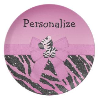 Cute Pink Zebra Bow Glitter Animal Print Plate