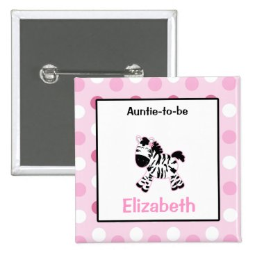 Cute Pink Zebra Customized name tag Button