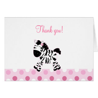 Cute Pink Zebra Folded Thank you notes Greeting Card
