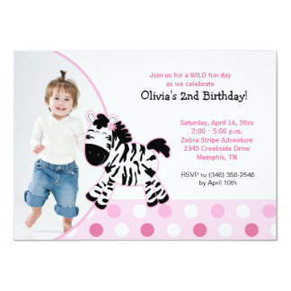 Cute Pink Zebra Girl Photo Birthday Invitation