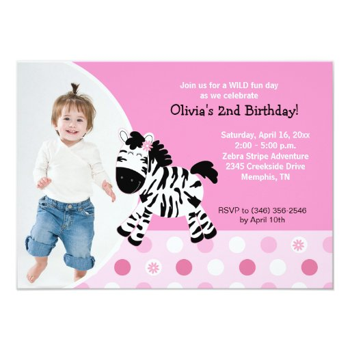 Cute Pink Zebra Girl Photo Birthday Invitation