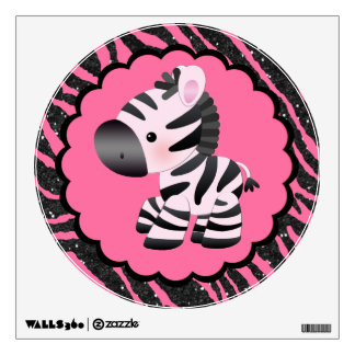 Cute Pink Zebra & Glitter Animal Print Wall Decal