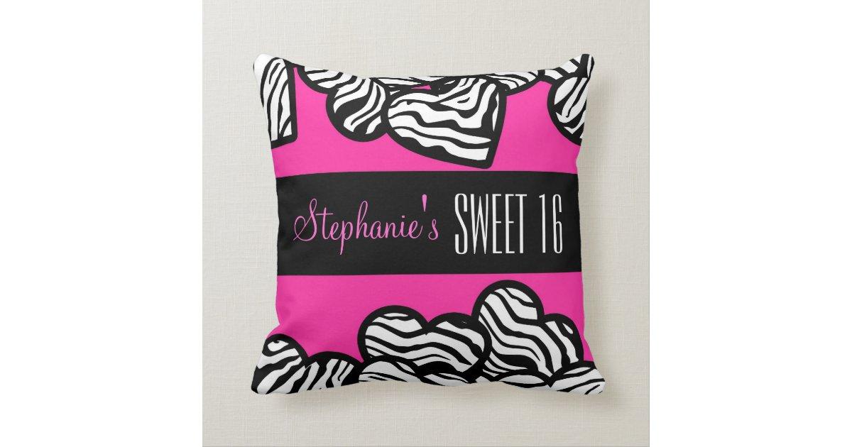 Cute Zebra Pillow : Cute Pink zebra heart Sweet 16 Birthday Pillow Zazzle