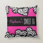 Cute Pink zebra heart Sweet 16 Birthday Pillow