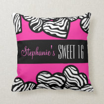 Cute Pink zebra heart Sweet 16 Birthday Pillow