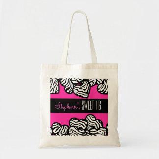 Cute Pink zebra heart Sweet 16 Birthday Tote bag