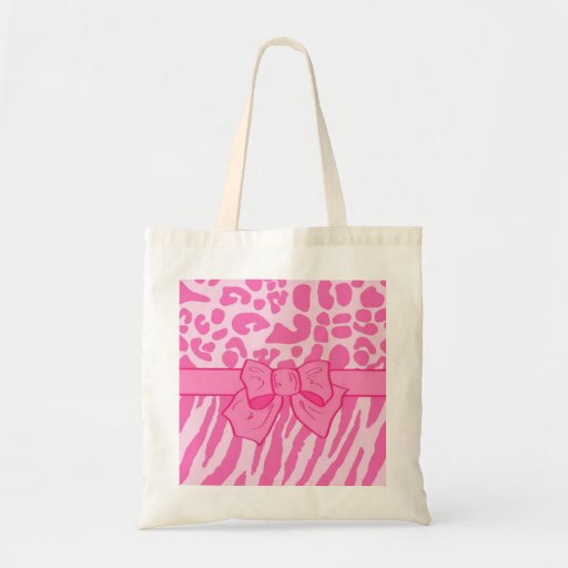 Cute Pink Zebra Leopard Animal Print and Girly Bow Tote Bag