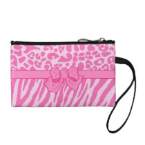 Cute Pink Zebra Leopard Animal Print and Girly Bow Change Purse