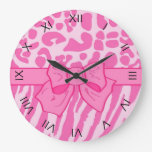 Cute Pink Zebra Leopard Animal Print and Girly Bow Clock