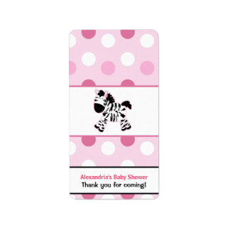 Cute Pink Zebra Miniature Candy Wrappers Label