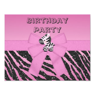 Cute Pink Zebra & Printed Bow Birthday Party Card