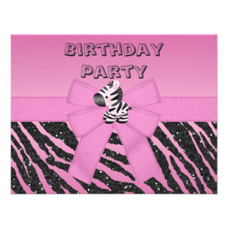 Cute Pink Zebra Printed Bow Birthday Party Personalized Announcement