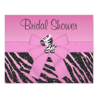Cute Pink Zebra & Printed Bow Bridal Shower Card
