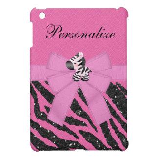 Cute Pink Zebra Printed Bow & Glitter iPad Mini Covers