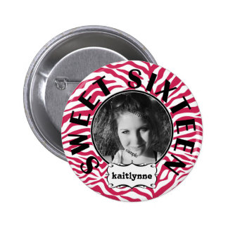 Cute Pink Zebra  Sweet 16th Birthday Girl Pinback Button