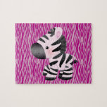 Cute Pink Zebra & Texture Animal Print Puzzle